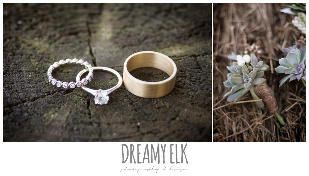 wedding rings, solitaire diamond engagement ring, gold wedding band, succulent boutonniere, rustic chic wedding photo, the amish barn at edge {dreamy elk photography and design}