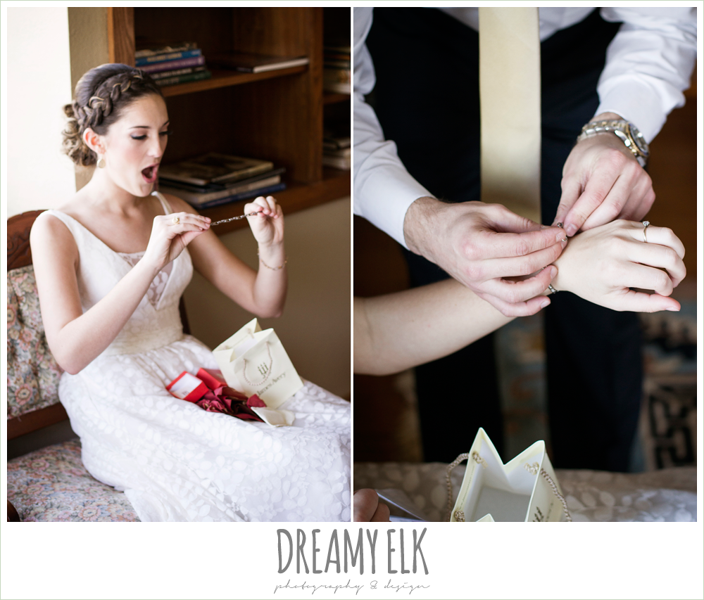 bride opening gift, rustic chic wedding photo, the amish barn at edge {dreamy elk photography and design}
