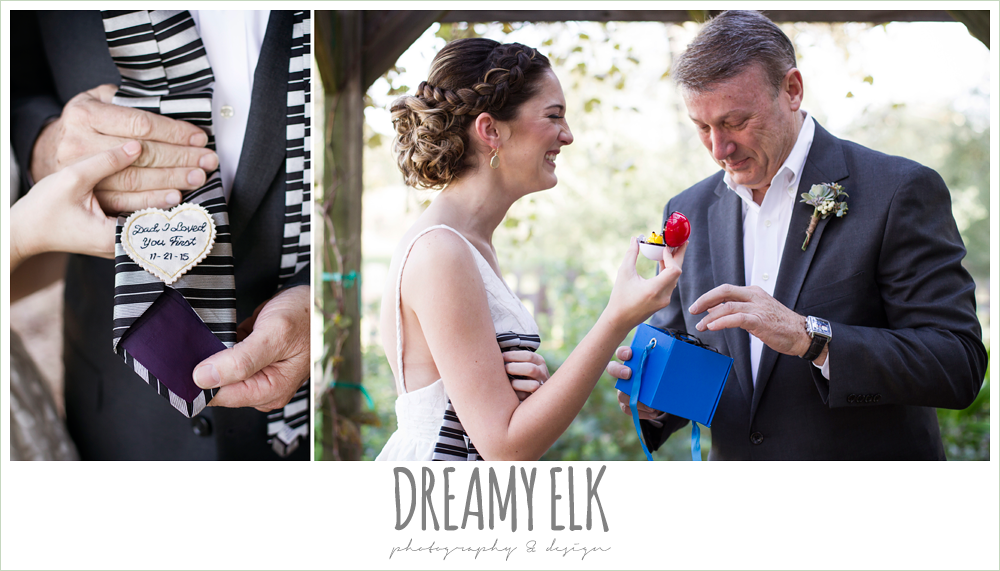 bride opening gift from dad, rustic chic wedding photo, the amish barn at edge {dreamy elk photography and design}