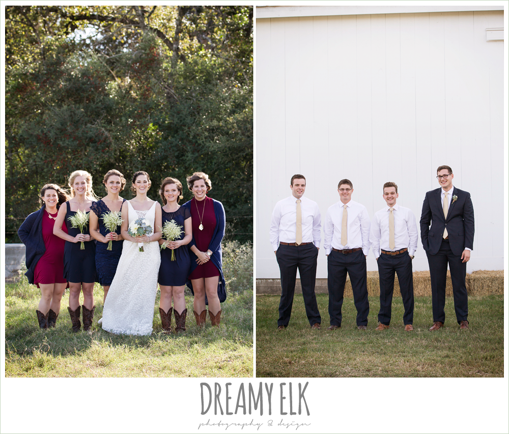 mix matched navy bridesmaids dresses, cowboy boots, groom in navy suit, rustic chic wedding photo, the amish barn at edge {dreamy elk photography and design}