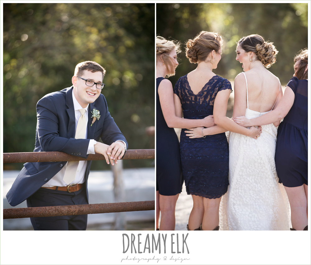 groom in navy suit, mix matched navy bridesmaids dresses, cowboy boots, rustic chic wedding photo, the amish barn at edge {dreamy elk photography and design}
