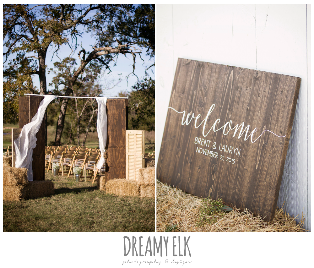 outdoor fall wedding ceremony decor, reception signage, rustic chic wedding photo, the amish barn at edge {dreamy elk photography and design}