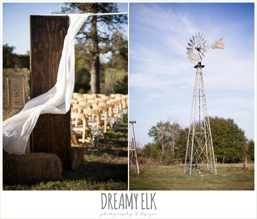 outdoor fall wedding ceremony decor, rustic chic wedding photo, the amish barn at edge {dreamy elk photography and design}
