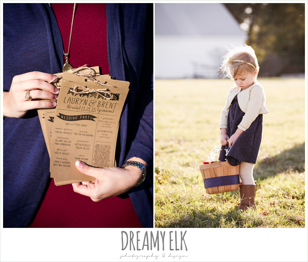 fall wedding program, flower girl in cowboy boots, rustic chic wedding photo, the amish barn at edge {dreamy elk photography and design}