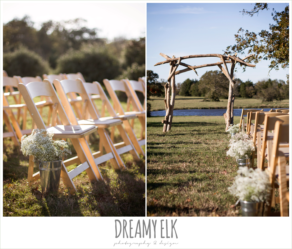 outdoor fall wedding ceremony decor, baby's breath flowers, rustic chic wedding photo, the amish barn at edge {dreamy elk photography and design}