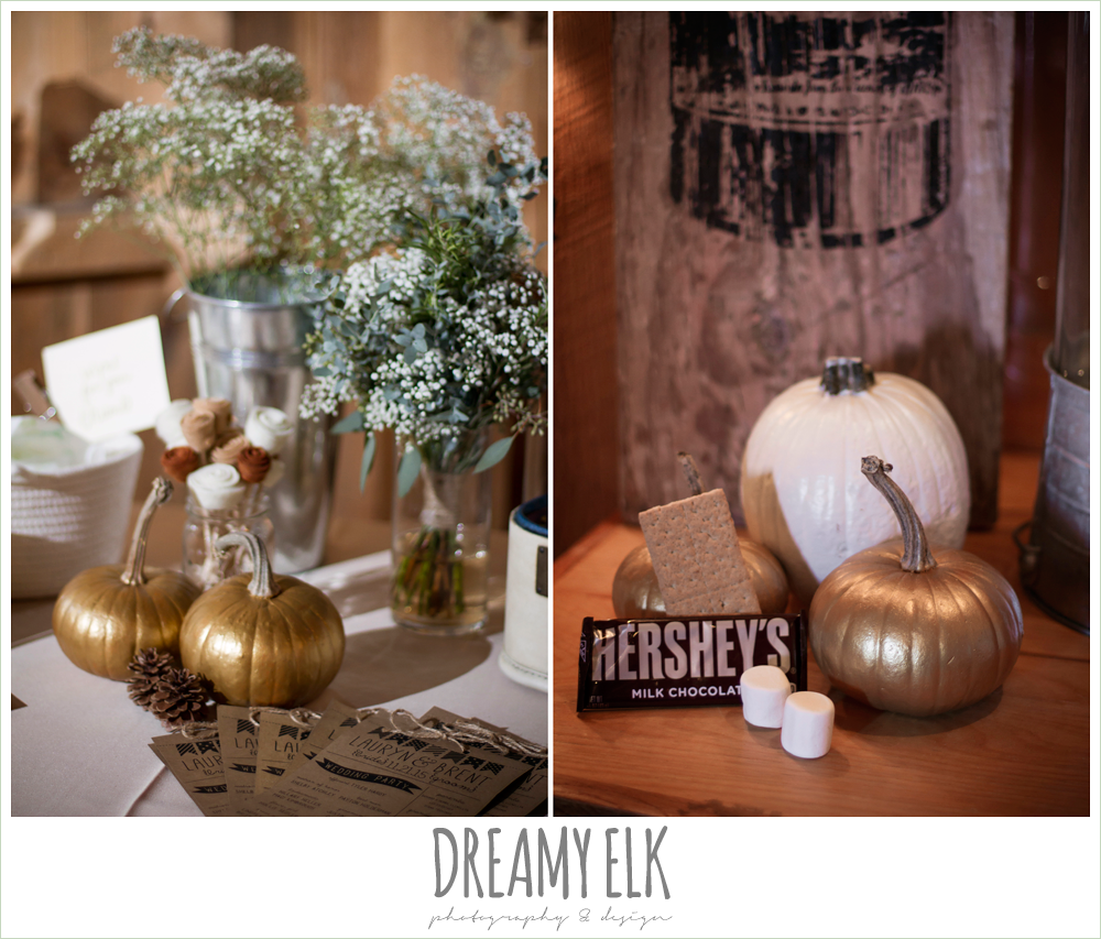 s'mores bar, barn wedding reception, fall reception decor, rustic chic wedding photo, the amish barn at edge {dreamy elk photography and design}