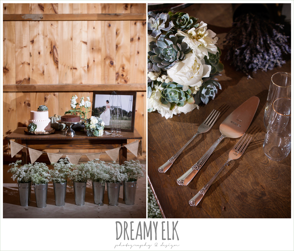 cake table, barn wedding reception, fall reception decor, rustic chic wedding photo, the amish barn at edge {dreamy elk photography and design}