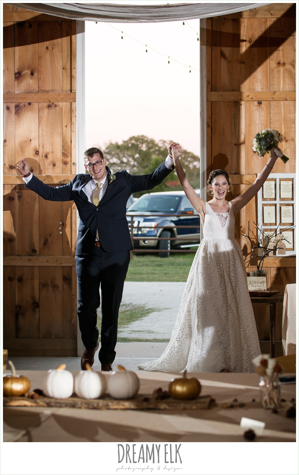 bride and groom entering reception, barn wedding reception, fall rustic chic wedding photo, the amish barn at edge {dreamy elk photography and design}