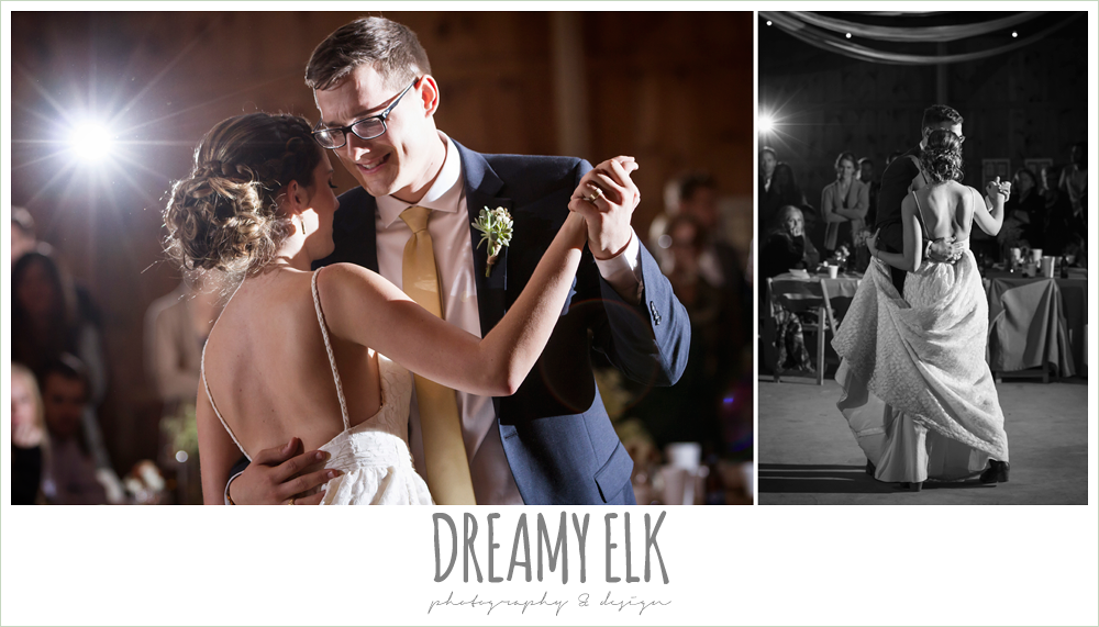 bride and groom first dance, barn wedding reception, fall rustic chic wedding photo, the amish barn at edge {dreamy elk photography and design}
