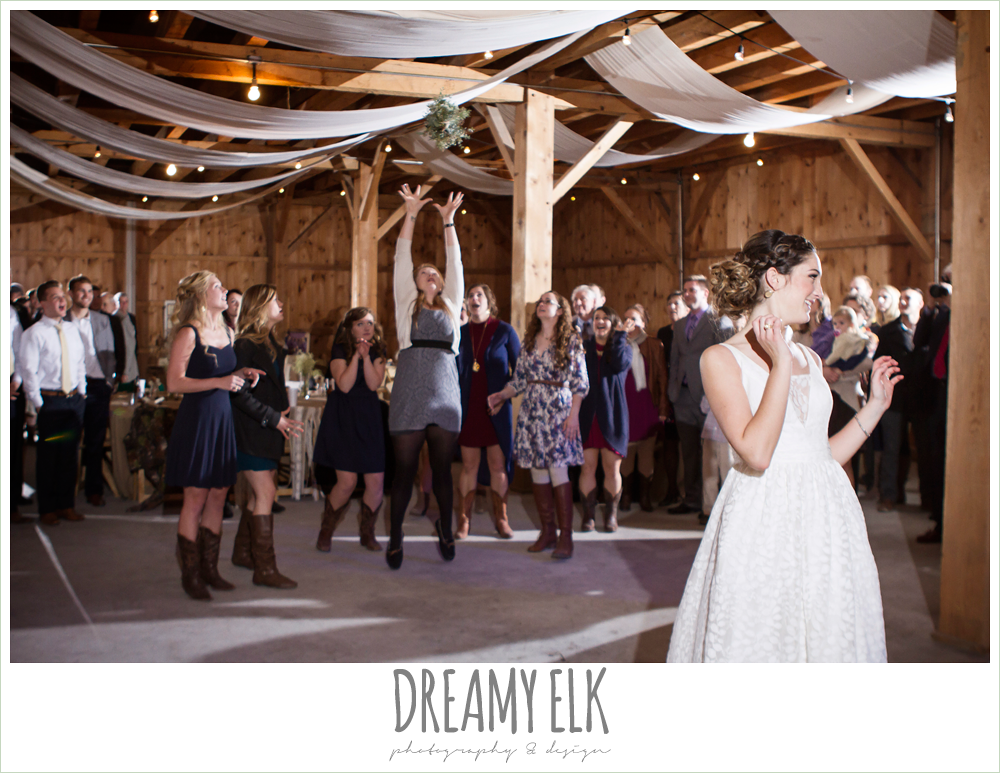 bouquet toss, barn wedding reception, fall rustic chic wedding photo, the amish barn at edge {dreamy elk photography and design}