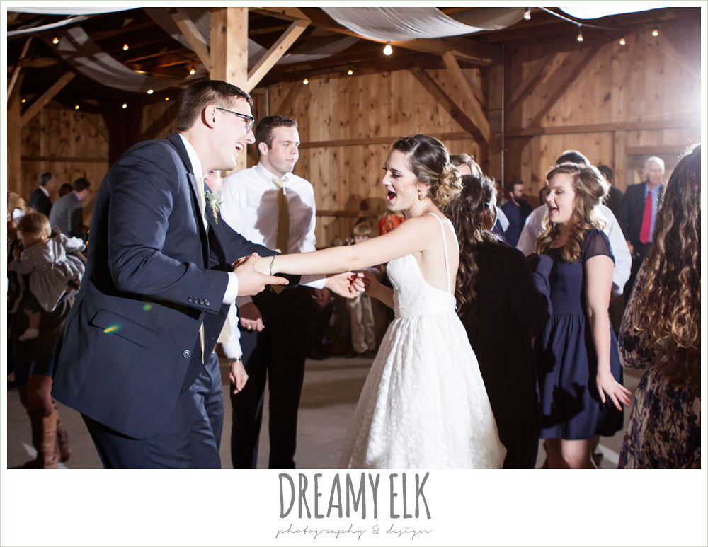 bride and groom dancing at reception, barn wedding reception, fall rustic chic wedding photo, the amish barn at edge {dreamy elk photography and design}
