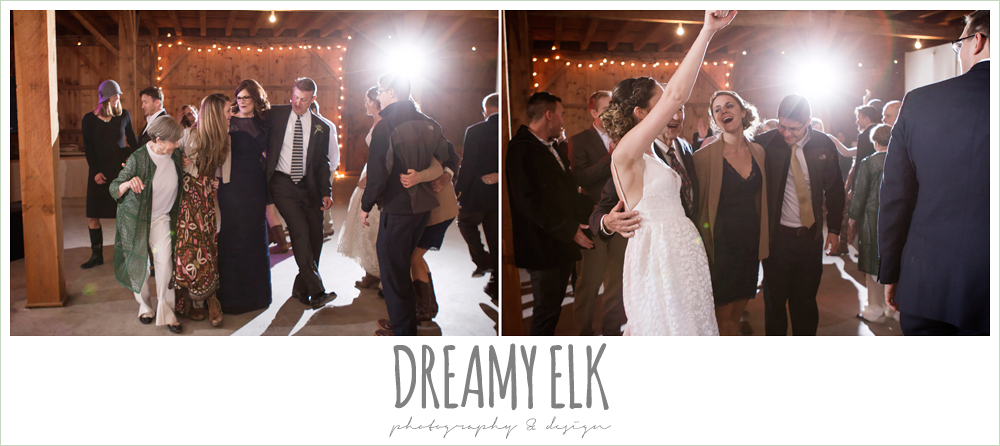 guests dancing at wedding reception, barn wedding reception, fall rustic chic wedding photo, the amish barn at edge {dreamy elk photography and design}