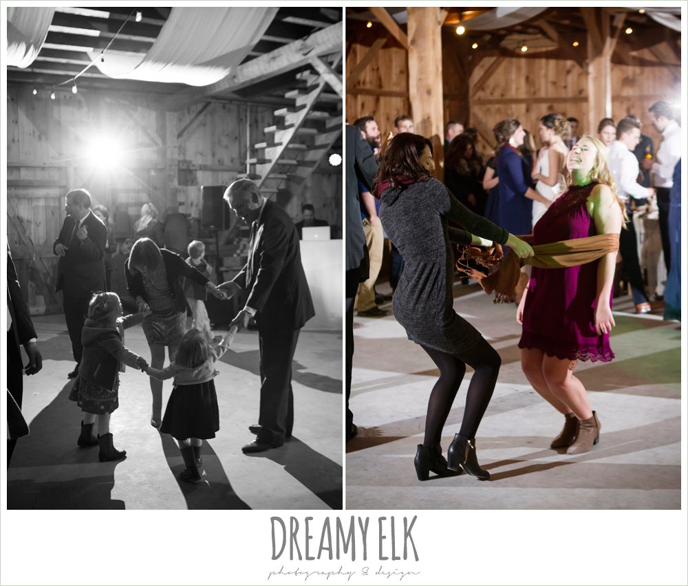 guests dancing at reception, barn wedding reception, fall rustic chic wedding photo, the amish barn at edge {dreamy elk photography and design}