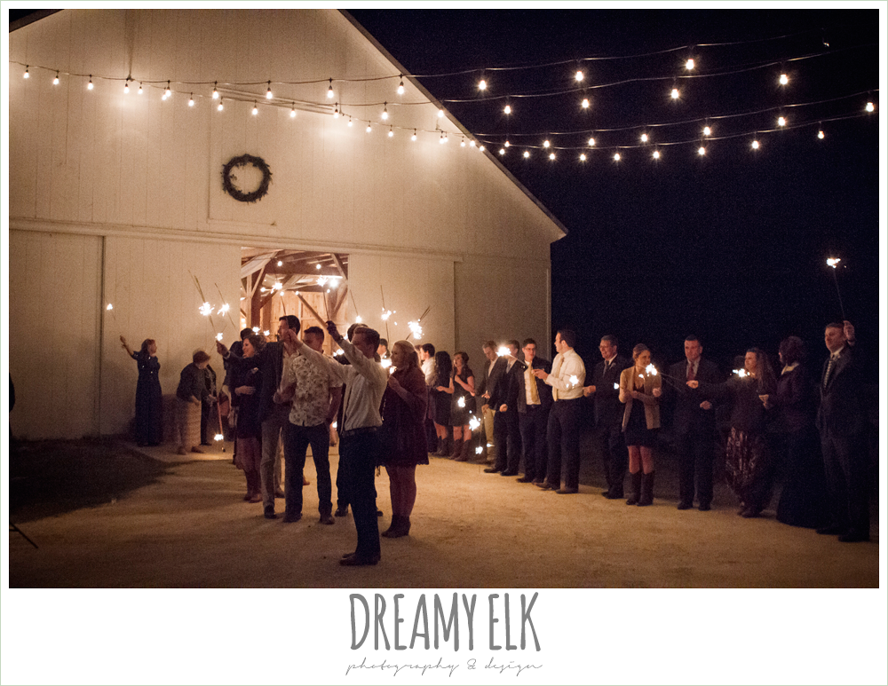 fire sparkler send off, barn wedding reception, fall rustic chic wedding photo, the amish barn at edge {dreamy elk photography and design}
