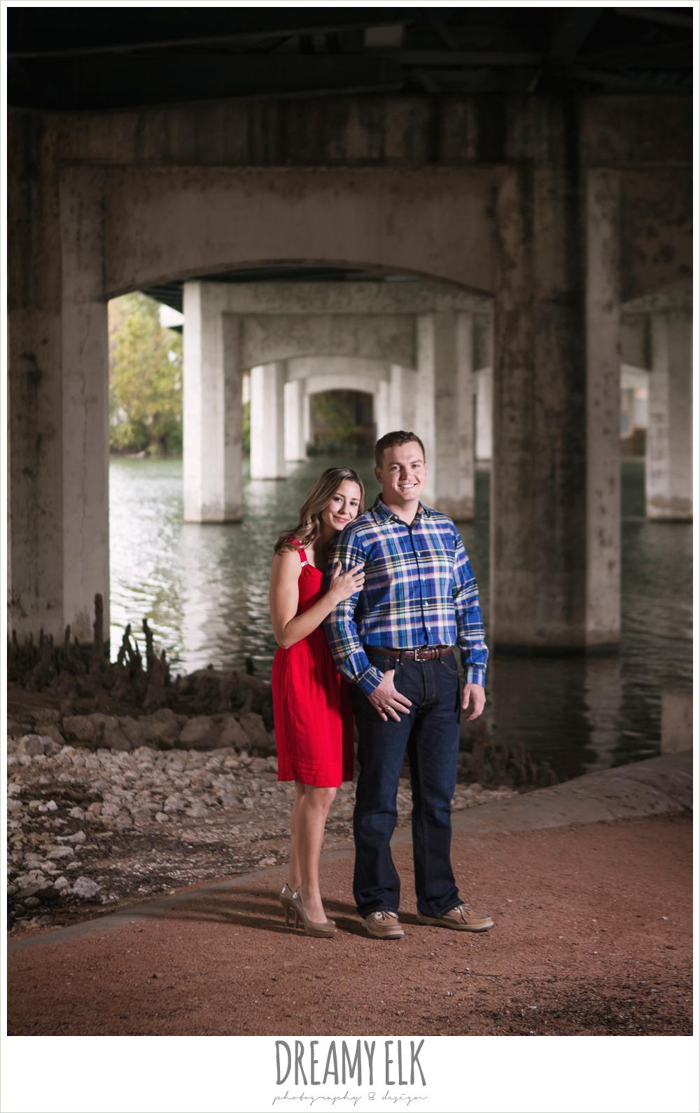 outdoor downtown austin engagement photo under a bridge {dreamy elk photography and design}