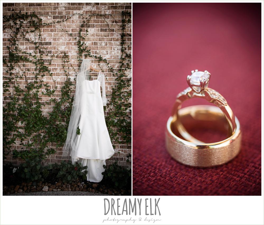 wedding dress on hanger, gold diamond engagement ring, winter december church wedding photo {dreamy elk photography and design}