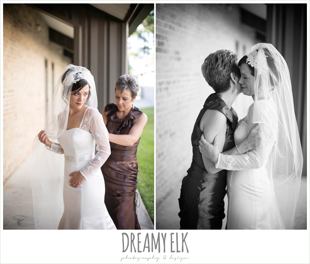 long sleeve wedding dress, bride and mother, winter december church wedding photo {dreamy elk photography and design}