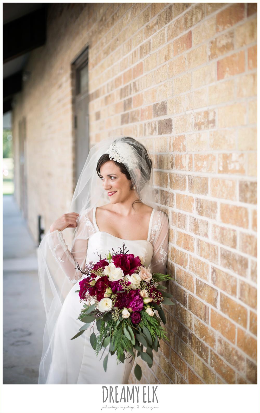 bride, long sleeve wedding dress, winter burgundy wedding bouquet, winter december church wedding photo {dreamy elk photography and design}