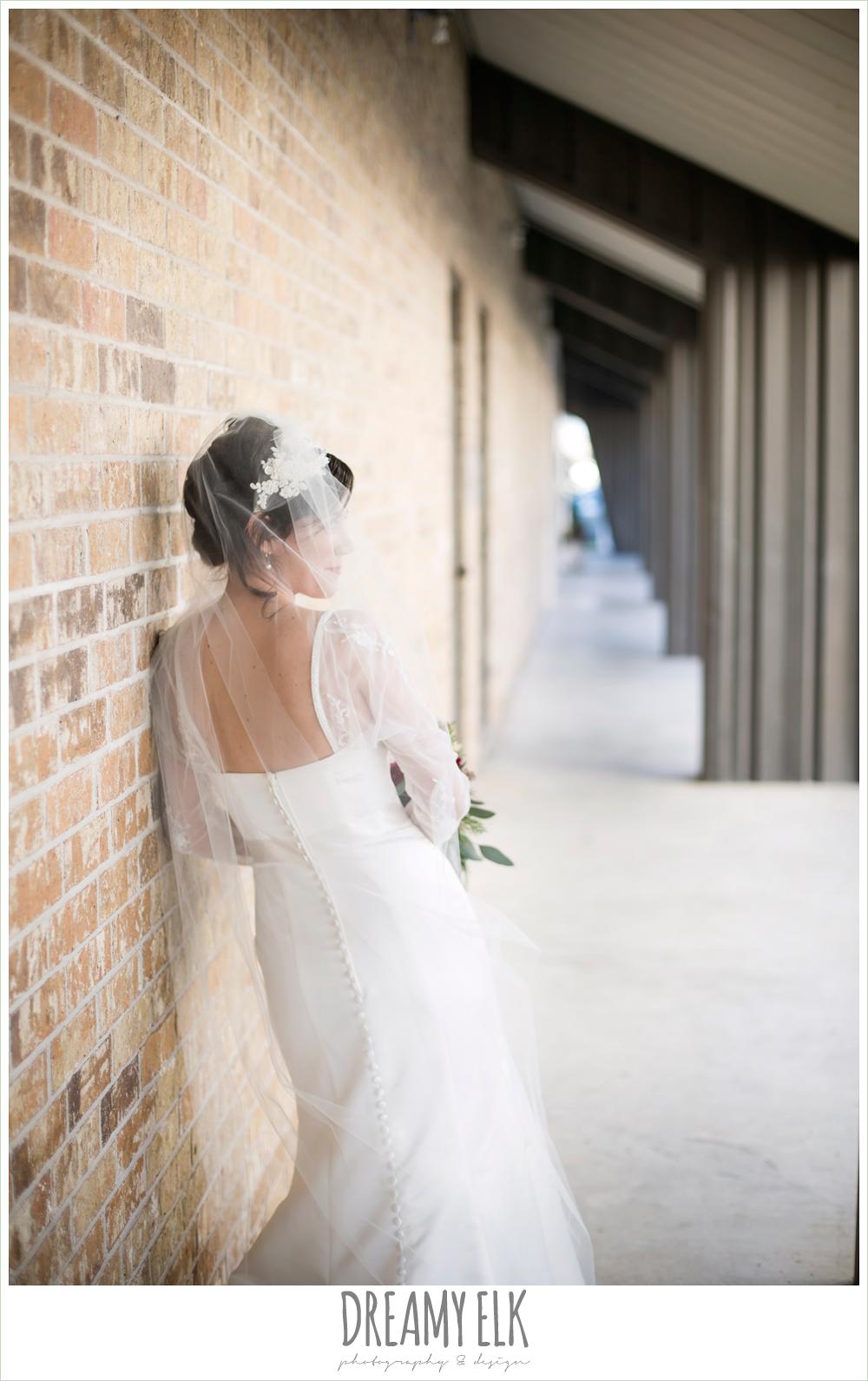 bride, long sleeve wedding dress, outdoor bridal photo, winter december church wedding photo {dreamy elk photography and design}