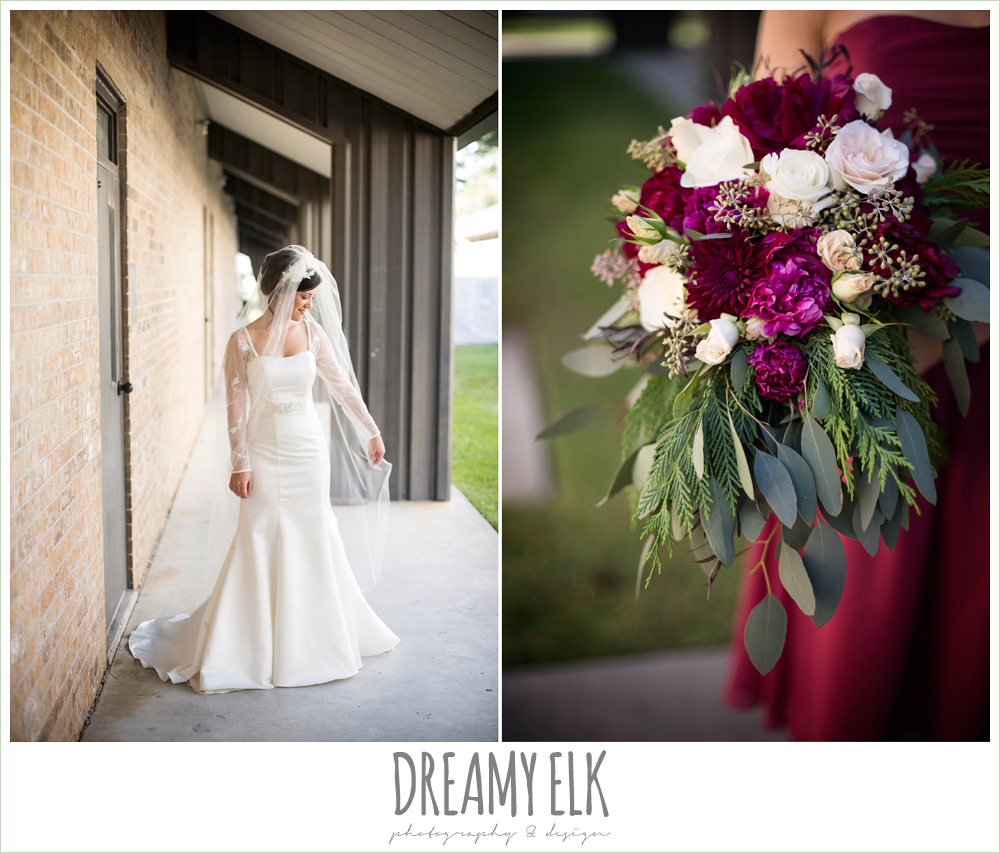 bride, outdoor bridal photo, long sleeve wedding dress, burgundy winter wedding bouquet, winter december church wedding photo {dreamy elk photography and design}