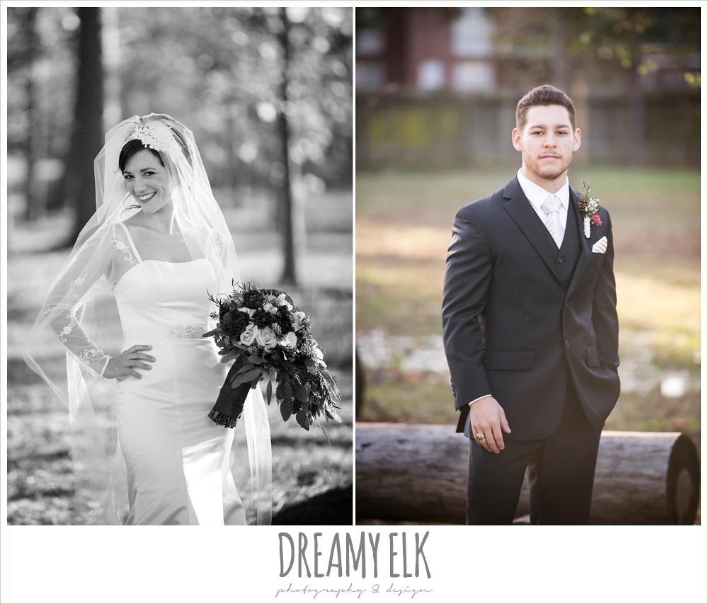 bride, groom, outdoor bridal photo, long sleeve wedding dress, winter december church wedding photo {dreamy elk photography and design}