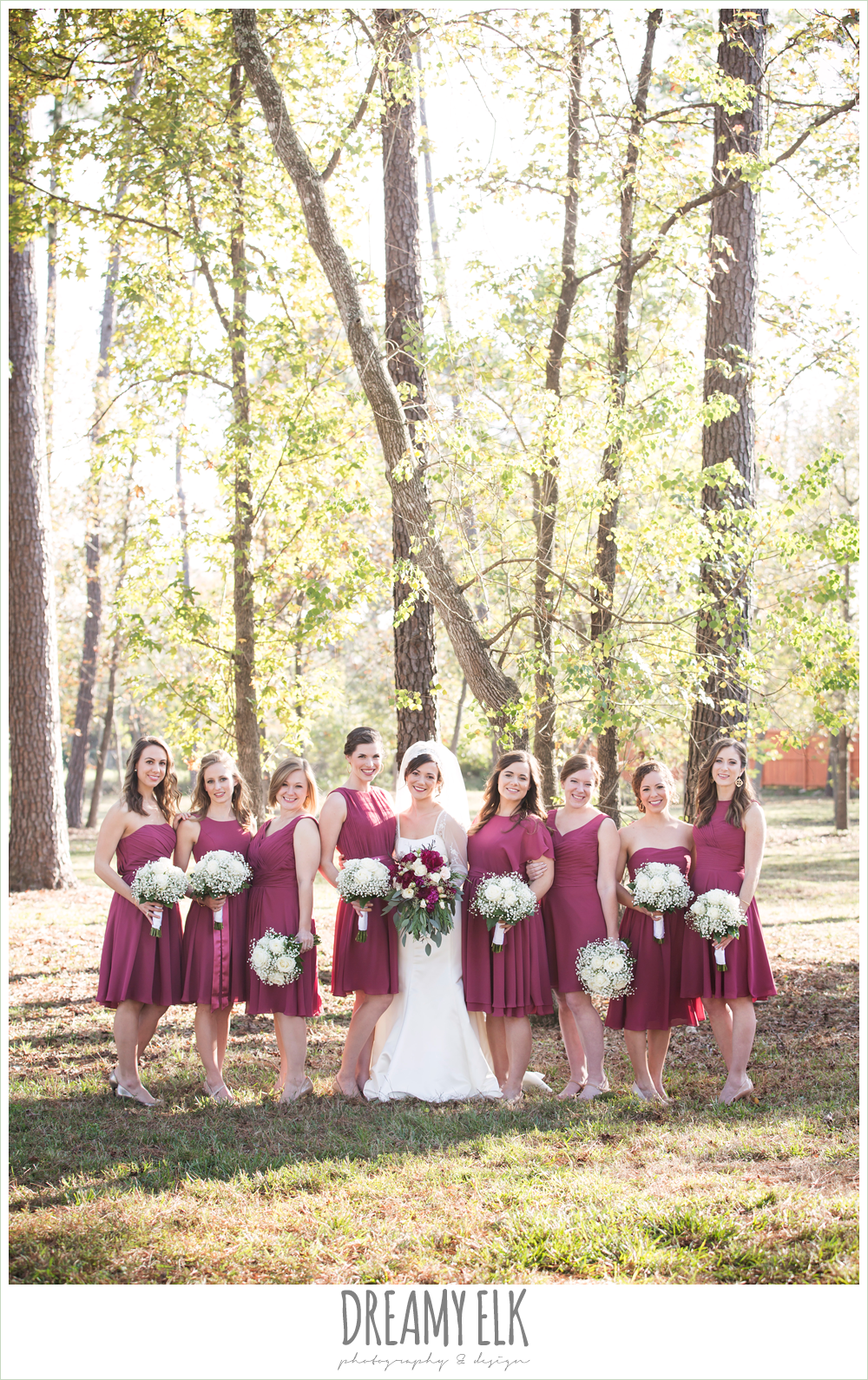 bride and bridesmaids, mulberry mix match david's bridal bridesmaids dresses, outdoor, winter december church wedding photo {dreamy elk photography and design}