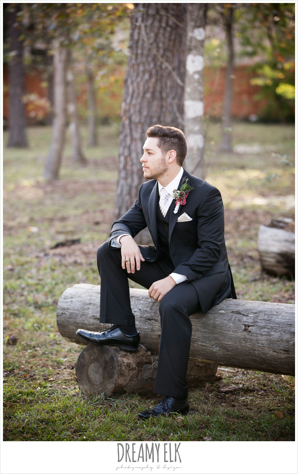 groom in tux, winter december church wedding photo {dreamy elk photography and design}