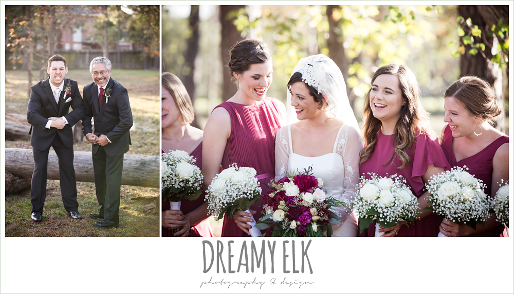 bride and bridesmaids, mulberry mix match david's bridal bridesmaids dresses, outdoor, baby's breath bridesmaids bouquets, funny groom and father photo, winter december church wedding photo {dreamy elk photography and design}