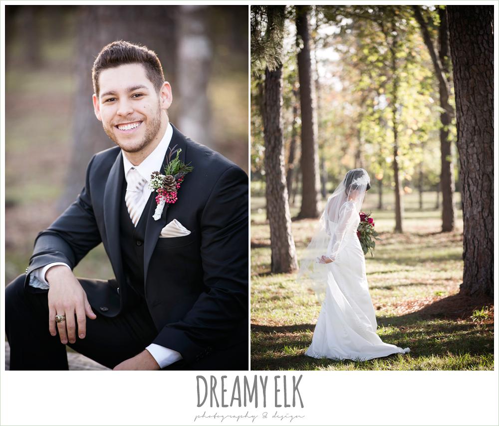 pinecone boutonniere, bride, groom, winter december church wedding photo {dreamy elk photography and design}