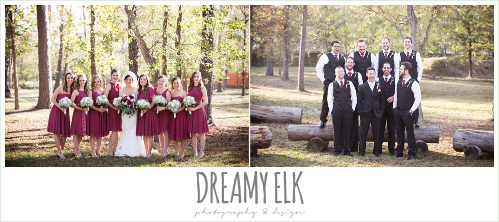 groom and groomsmen, vests and ties, bride and bridesmaids, mulberry mix match david's bridal bridesmaids dresses, outdoor, winter december church wedding photo {dreamy elk photography and design}