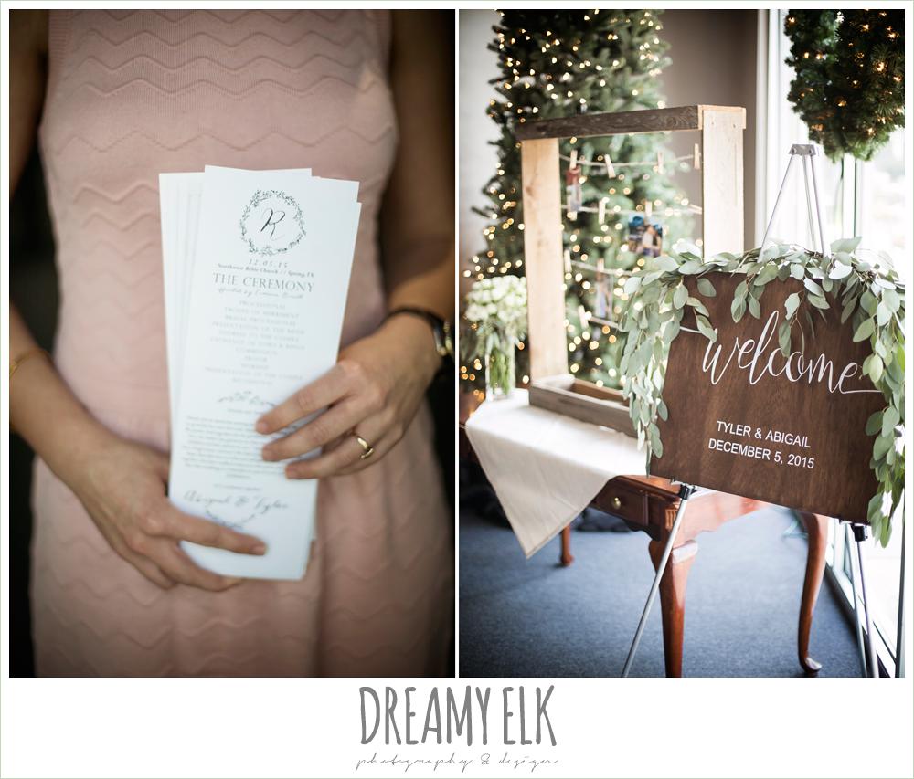 wedding program, wooden welcome wedding sign, winter december church wedding photo {dreamy elk photography and design}