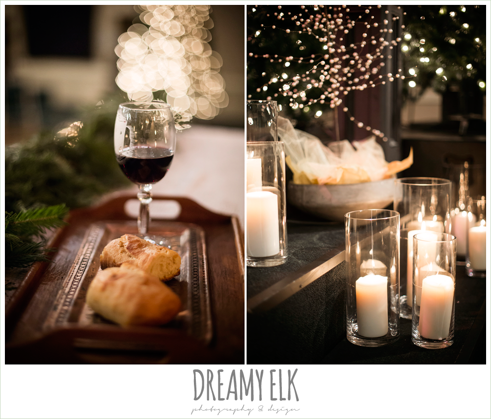 winter ceremony decor, candles, christmas tree lights, winter december church wedding photo {dreamy elk photography and design}