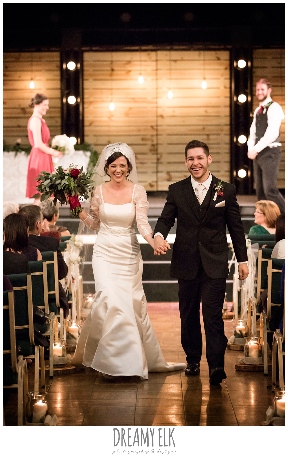 bride and groom walking down the aisle, winter december church wedding photo {dreamy elk photography and design}