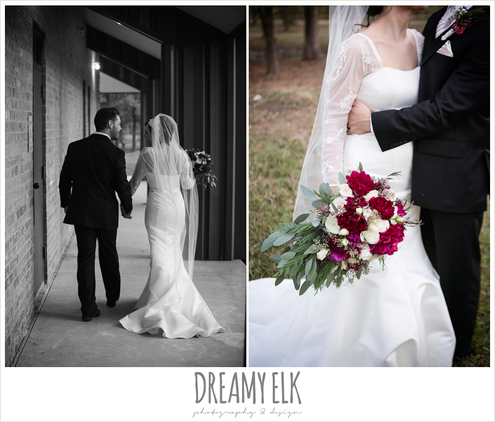 outdoor bride and groom portraits, burgundy wedding bouquet, winter december church wedding photo {dreamy elk photography and design}
