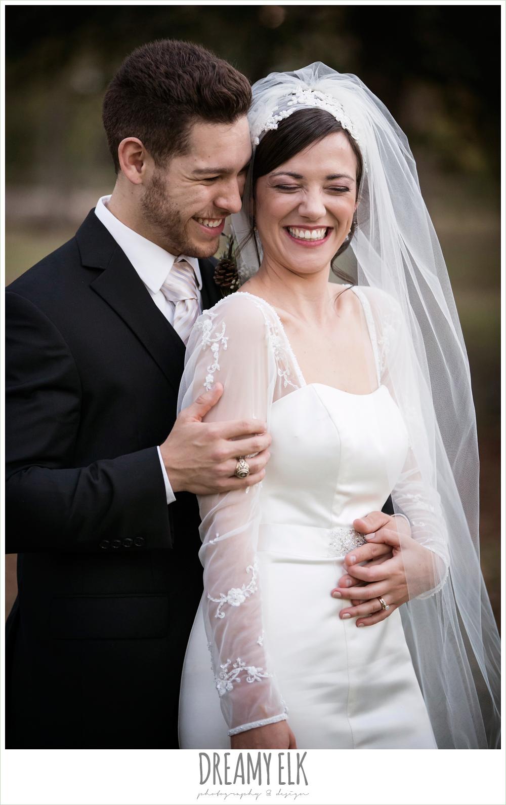 outdoor bride and groom portraits, long sleeve wedding dress, winter december church wedding photo {dreamy elk photography and design}