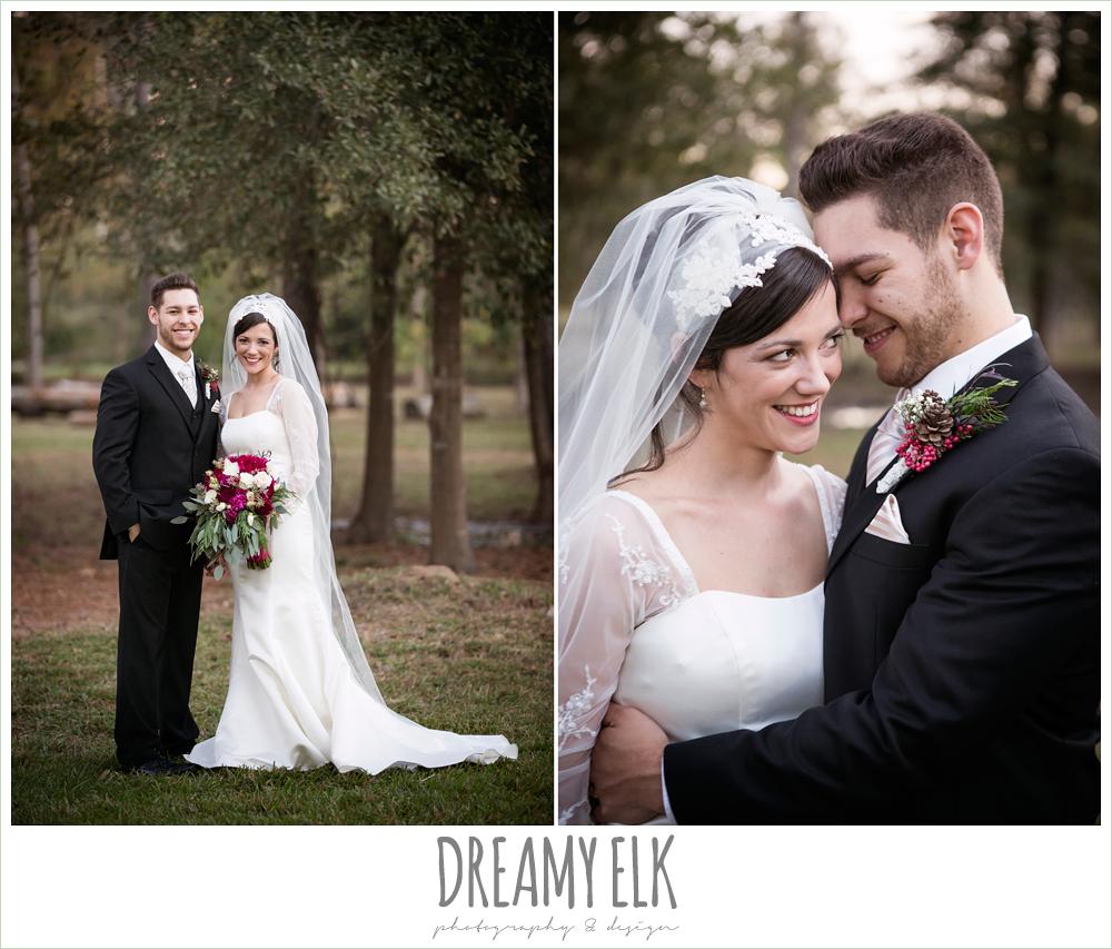 outdoor bride and groom portraits, long sleeve wedding dress, burgundy wedding bouquet, winter december church wedding photo {dreamy elk photography and design}