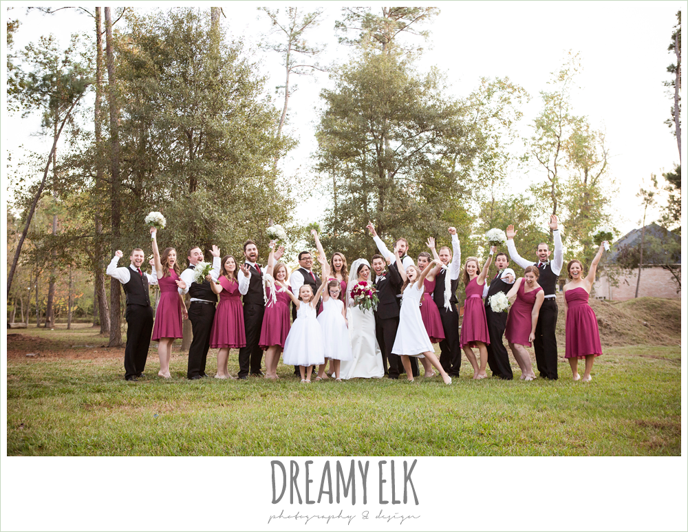 funny bridal party, mulberry short mix match david's bridal bridesmaids dresses, winter december church wedding photo {dreamy elk photography and design}
