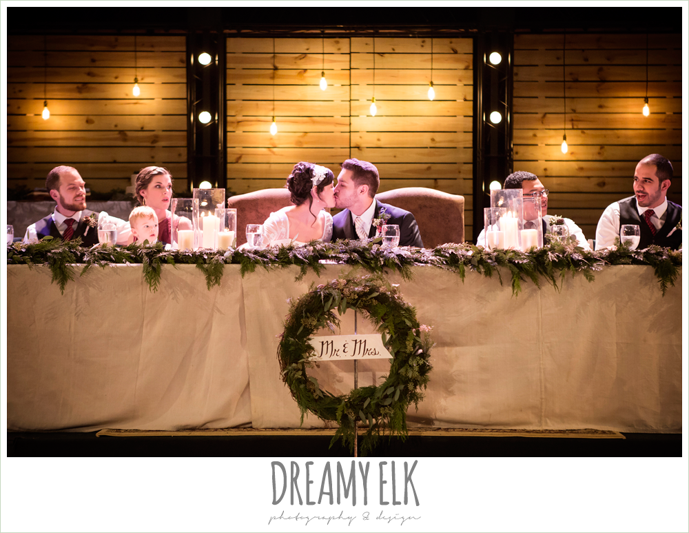 indoor reception head table garland, mr and mrs wreath, rustic, winter december church wedding photo {dreamy elk photography and design}
