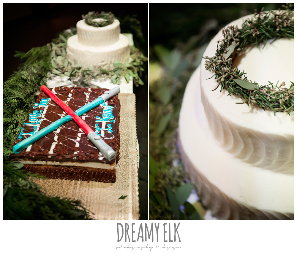 cake table, star wars grooms cake, rustic, winter december church wedding photo {dreamy elk photography and design}