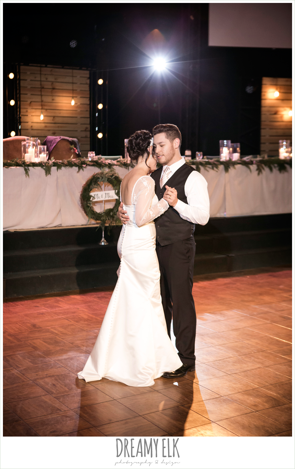 bride and groom first dance, rustic, winter december church wedding photo {dreamy elk photography and design}