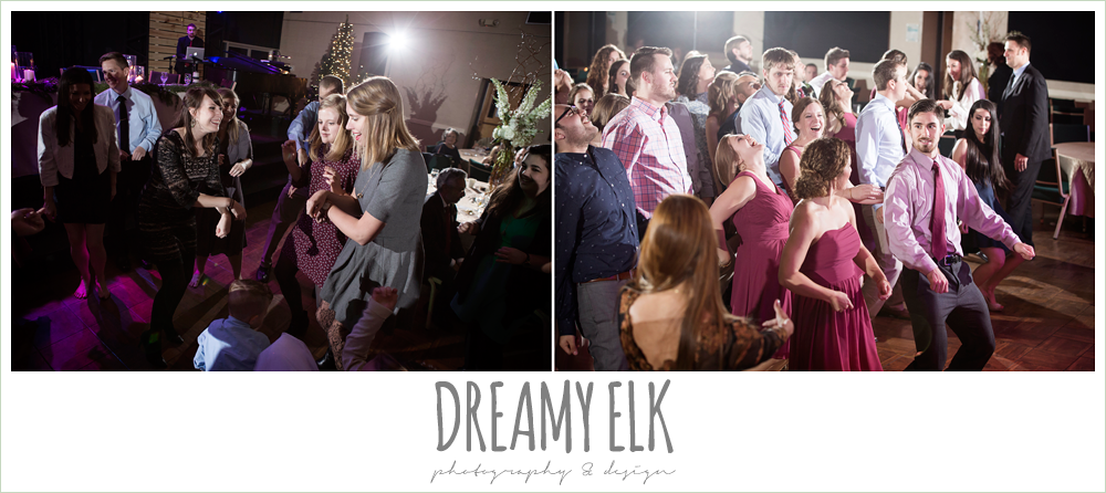 guests dancing at wedding reception, winter december church wedding photo {dreamy elk photography and design}