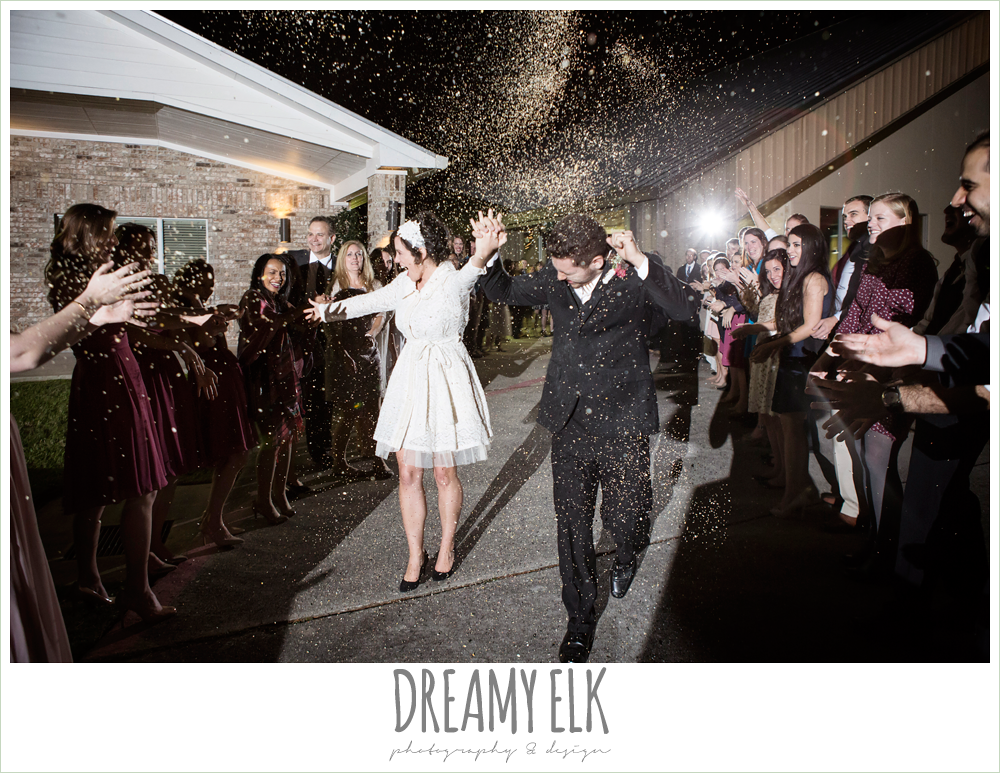 guests throwing rice, wedding exit, send off, winter december church wedding photo {dreamy elk photography and design}