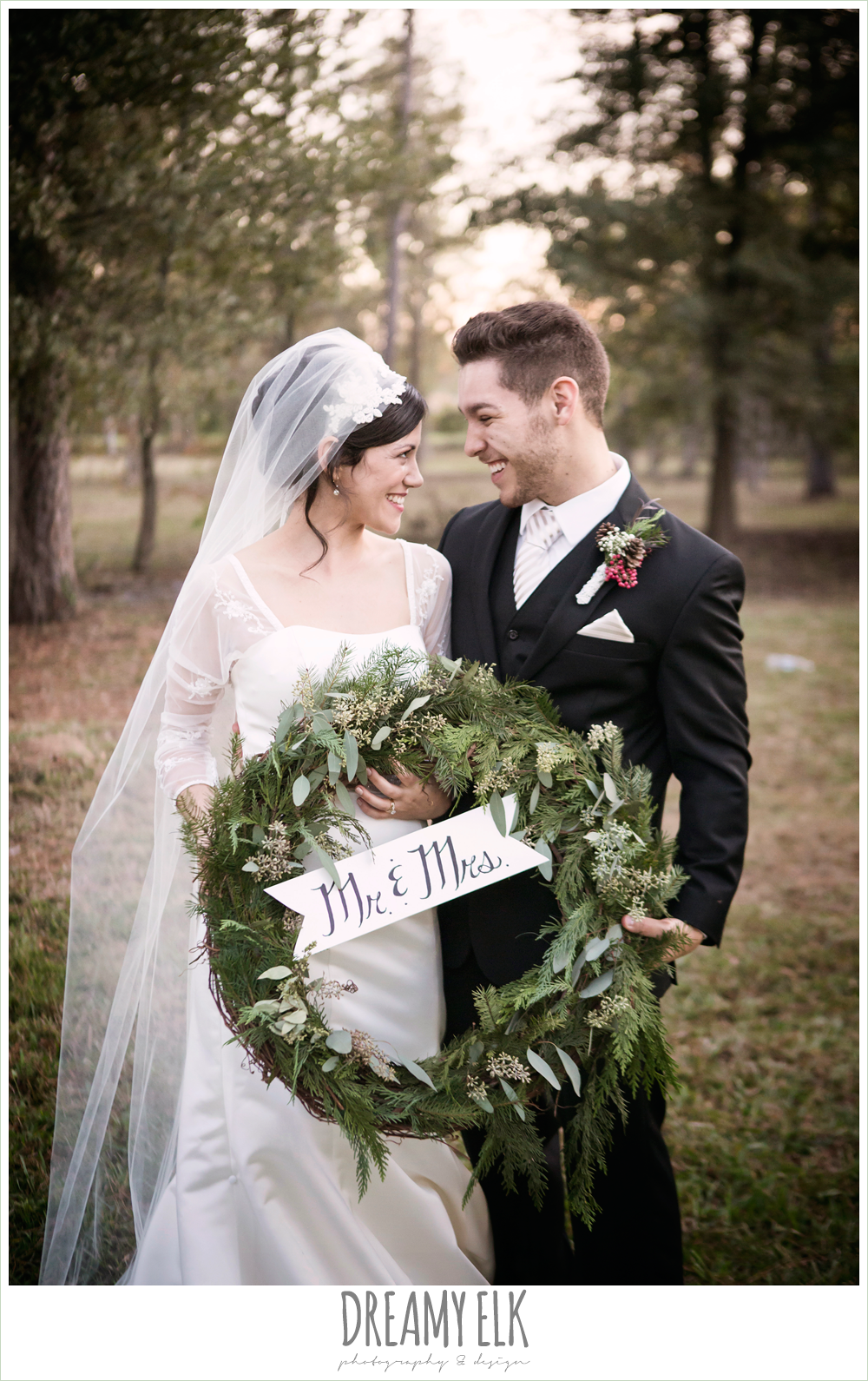 mr and mrs wreath, bride and groom, long sleeve wedding dress, winter december church wedding photo {dreamy elk photography and design}