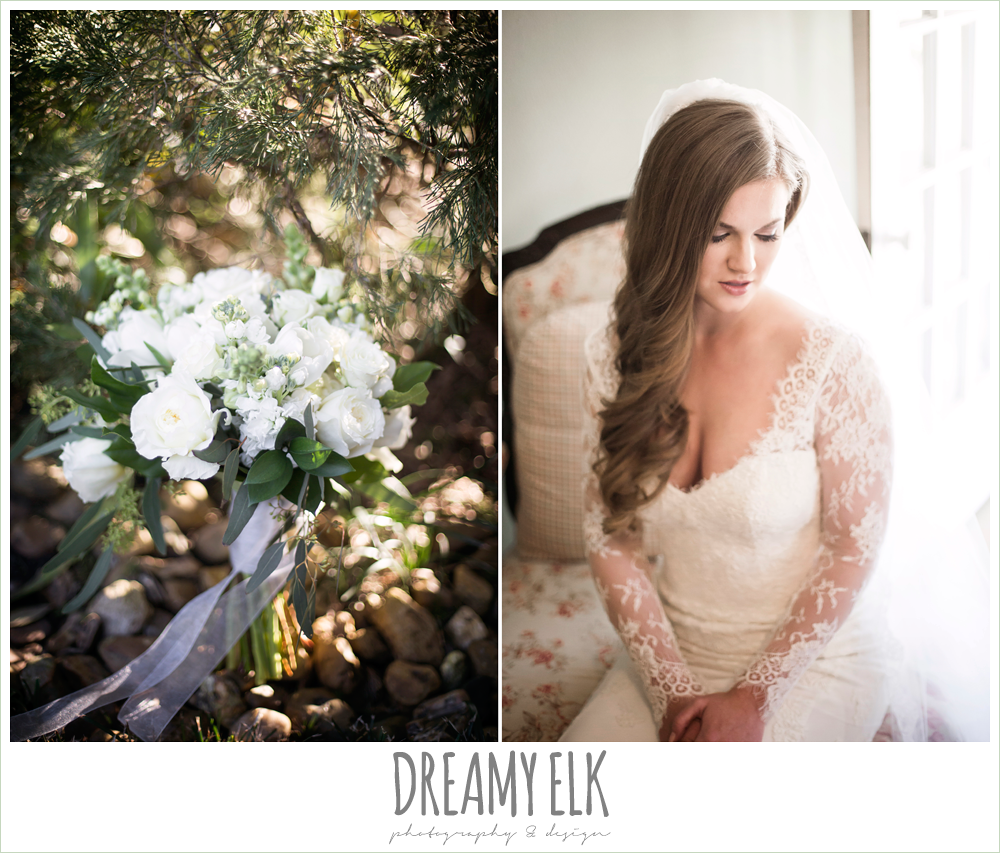 white wedding bouquet with ribbon, tricia barksdale designs, inside bridal portrait, wedding hair down, long sleeve lace wedding dress, morning winter january wedding, ashelynn manor {dreamy elk photography and design}