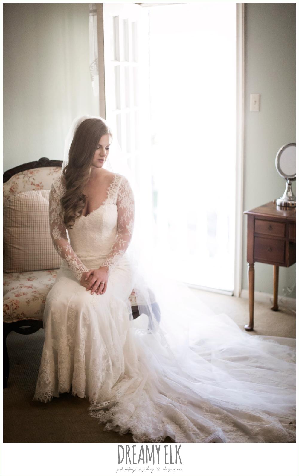 inside bridal portrait, wedding hair down, long sleeve lace wedding dress, morning winter january wedding, ashelynn manor {dreamy elk photography and design}