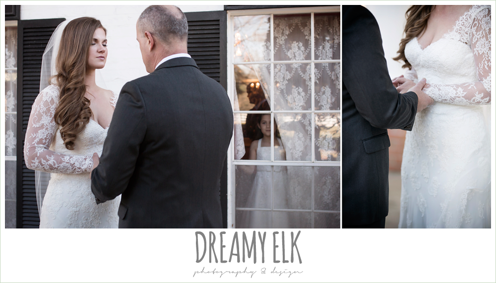 bride praying with dad, long sleeve lace wedding dress, morning winter january wedding, ashelynn manor {dreamy elk photography and design}