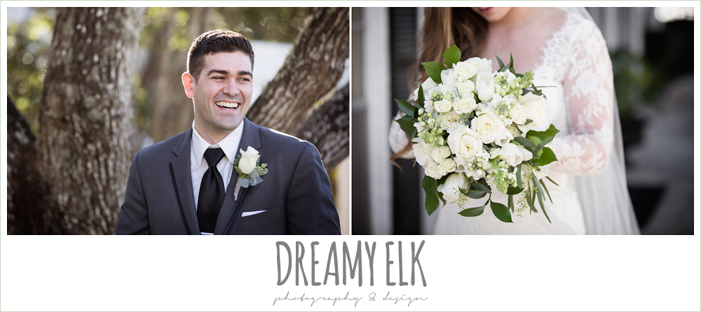 groom in dark gray suit, long sleeve lace wedding dress, white wedding bouquet, tricia barksdale designs, morning winter january wedding, ashelynn manor {dreamy elk photography and design}