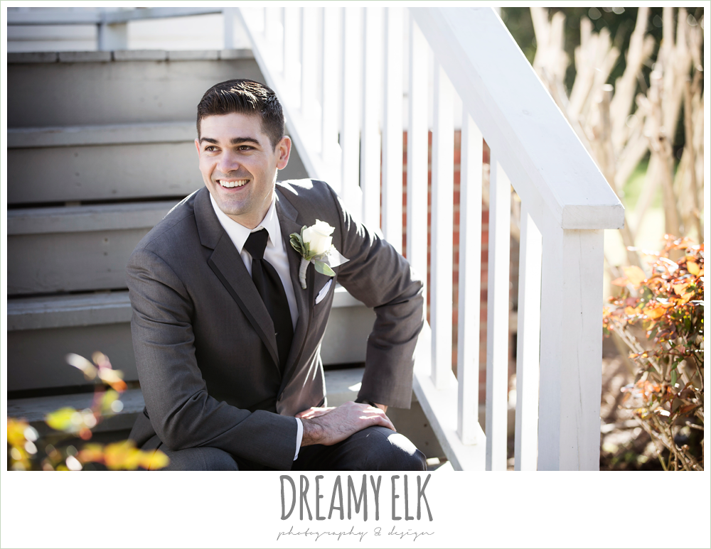 groom in dark suit and black tie, white boutonniere, morning winter january wedding, ashelynn manor {dreamy elk photography and design}