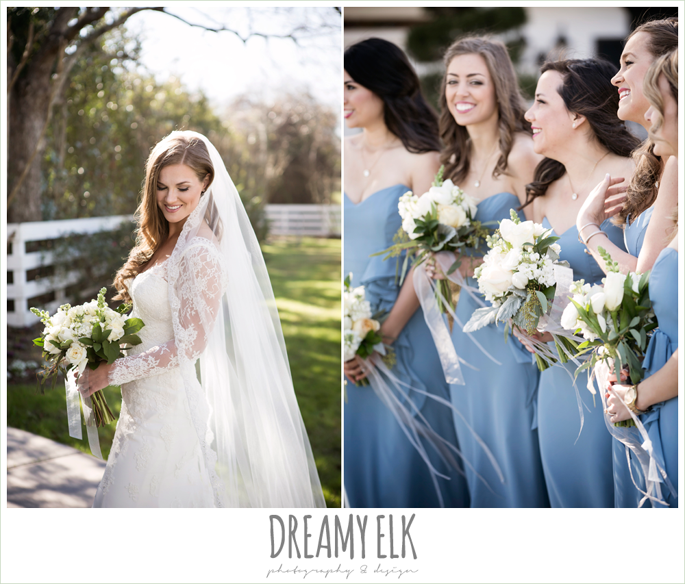 outdoor bridal portrait, long sleeve lace wedding dress, long veil, wedding hair down, white wedding bouquets with ribbon, tricia barksdale designs, wedgewood blue alfred angelo long bridesmaids dress, morning winter january wedding, ashelynn manor {dreamy elk photography and design}