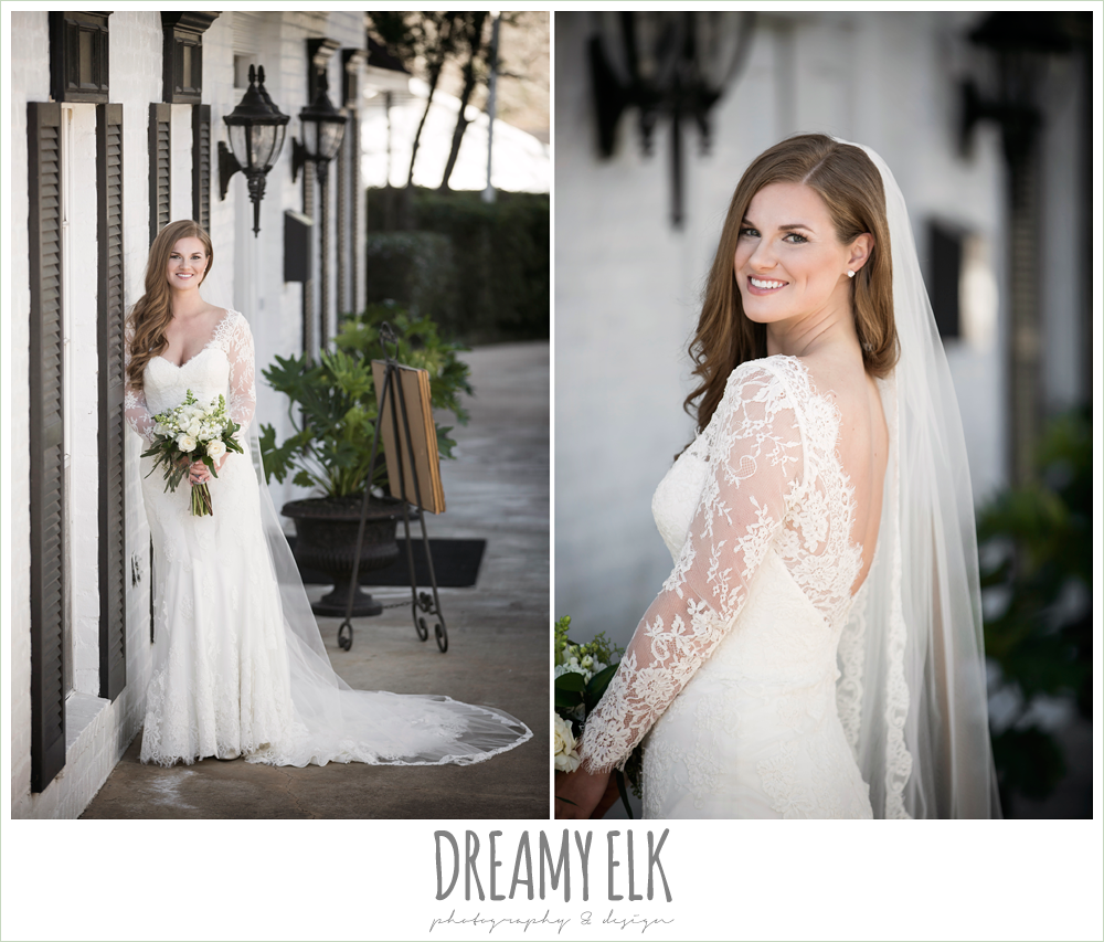 long sleeve lace wedding dress, long lace veil, white wedding bouquet, tricia barksdale designs, white house, morning winter january wedding, ashelynn manor {dreamy elk photography and design}
